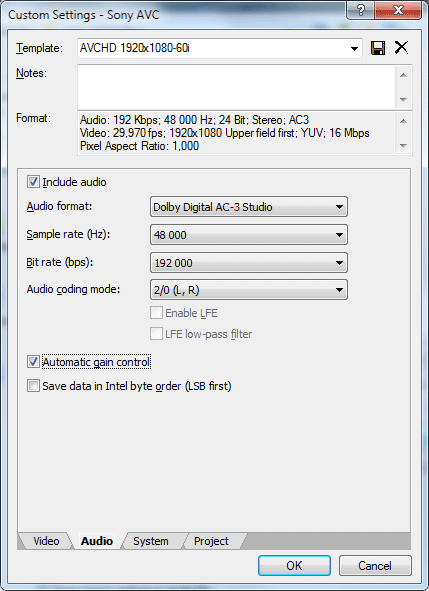 Custom Settings - Sony AVC